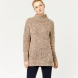 WAREHOUSE TWEEDY FUNNEL NECK JUMPER / camel-brown flecked jumpers