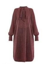 RACHEL COMEY Upland neck-tie lamé dress – dark pink dresses