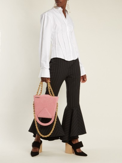 JACQUEMUS Upside-down triple-chain suede bag / pink suede bags / contemporary handbags