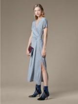 Diane von Furstenberg V Neck Ruched Midi Dress | grey soft jersey dresses
