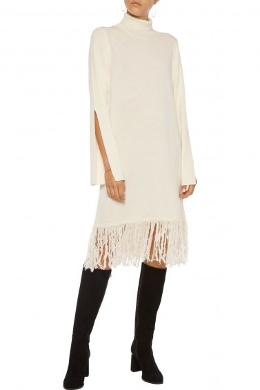 IRIS AND INK Valentina fringed wool-blend sweater dress – ivory knitted dresses - flipped