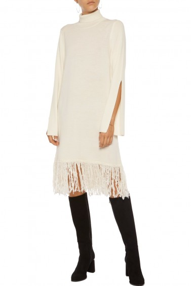 IRIS AND INK Valentina fringed wool-blend sweater dress – ivory knitted dresses