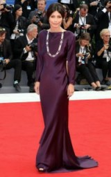 Italian actress Alessandra Mastronardi looked chic on the red carpet at the 2017 Venice Film Festival, wearing an elegant purple Alberta Ferretti couture gown. Celebrity gowns | designer dresses