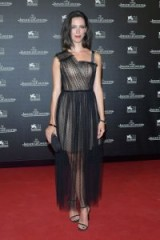 Rebecca Hall at the Jaeger-LeCoultre Gala Dinner, wearing a nude strapless dress with a sheer black tulle overlay, during the Venice Film Festival 2017 – women with style ~ celebrity red carpet dresses