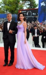 Amal Clooney exuded old Hollywood glamour, wearing a lilac Atelier Versace gown on the red carpet with husband George, at the Venice Film Festival 2017.