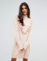 Vero Moda Jumper Dress With Ruffle Detail – blush pink knitted dresses – ruffled knitwear