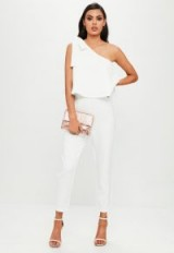 missguided white one shoulder bow jumpsuit