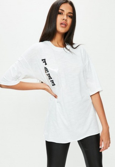 missguided white oversized t-shirt / FAKE print t-shirts - flipped