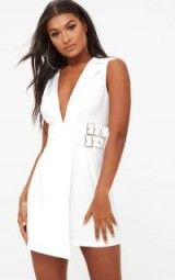 PRETTY LITTLE THING WHITE SLEEVELESS BUCKLE DETAIL BLAZER DRESS – deep v going out dresses