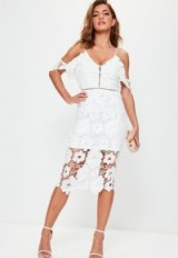 Missguided white strappy frill lace midi dress ~ semi sheer floral party dresses