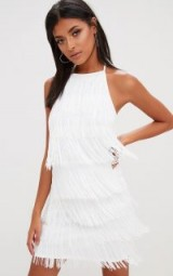PRETTYLITTLETHING WHITE TASSEL DETAIL HALTERNECK BODYCON DRESS – fringed party dresses