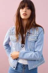 Rebecca Minkoff WILLEM JACKET | sky-blue pearl studded suede jackets