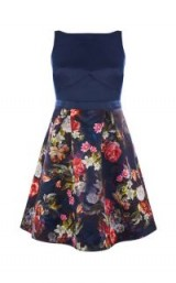 OASIS WINTER FLORAL 2-IN-1 SKATER ~ blue fit and flare dresses