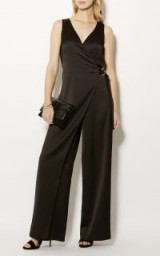 KAREN MILLEN WRAP & CAPE JUMPSUIT – BLACK / sleeveless jumpsuits / evening wear