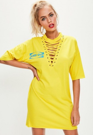 missguided yellow lace up t shirt dress / slogan print dresses - flipped