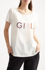YOLKE GIRL Statement Tee / slogan t-shirts / crepe silk t-shirt