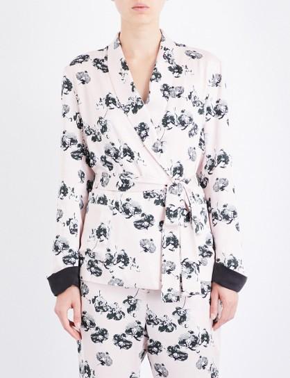 YOLKE Orchid-print silk jacket / floral dressing gown jackets / nightwear