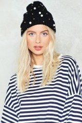 Nasty Gal You're My Pearl Embellished Beanie – black beanies – winter knitted hats