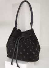 MINT VELVET ZOE BLACK EYELET BUCKET BAG / suede shoulder bags