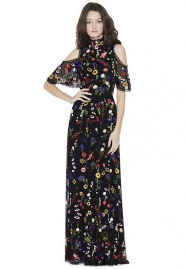 Alice and Olivia ADELLA EMBROIDERED GOWN / long floral cold shoulder dresses / romantic evening gowns