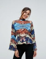 Aeryne High Neck Printed Top With Fluted Sleeve | cut out shoulder tops