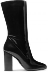 MICHAEL KORS COLLECTION Agatha glossed-leather boots / black calf length high heel boot