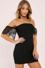 IN THE STYLE AILSA BLACK LACE SLEEVE BARDOT BODYCON DRESS ~ off the shoulder party dresses ~ lbd