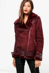 boohoo Aimee Boutique Faux Fur Trim Aviator With Belt | burgundy winter jackets