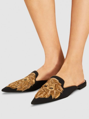 ALBERTA FERRETTI‎ Mia Embroidered Leather Mules ~ pointed toe flats