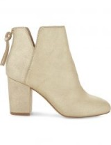 ALDO Dominicaa leather ankle boots – gold block heel cut away boot