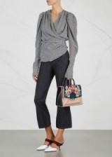 PAULA CADEMARTORI Alex embroidered leather shoulder bag ~ black and blush top handle bags