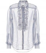 ALEXACHUNG Frilled gingham shirt / sheer check print shirts
