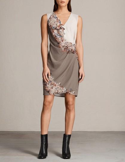 ALLSAINTS Anika silk mini dress / taupe floral dresses