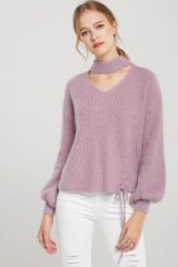 STORETS Ally Angora Choker Knit Pullover | soft purple bishop sleeved jumpers