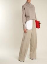 JOSEPH Alta split-waist wide-leg wool trousers ~ grey tailored pants