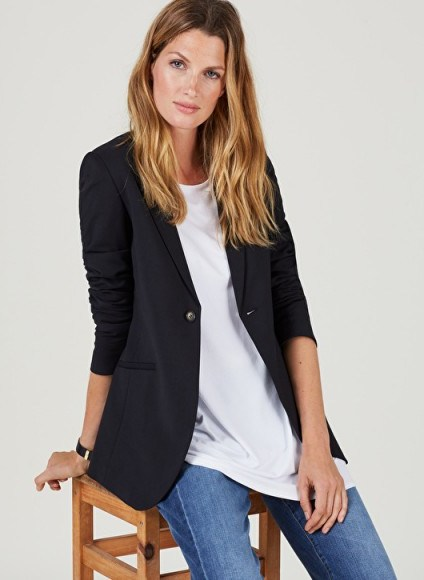 ISABELLA OLIVER ALTHEA TAILORED MATERNITY BLAZER ~ smart black pregnancy jackets - flipped