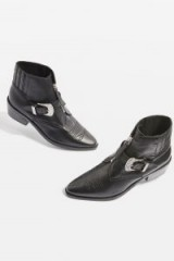 Topshop AMAZING Western Boots / black leather silver buckle cowboy ankle boot