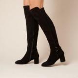 L.K. Bennett AMBA BLACK STRETCH SUEDE KNEE BOOTS / stylish block heel winter boot