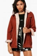 boohoo Amelia Borg Long Line Cord Jacket #jackets #rust #casual #style