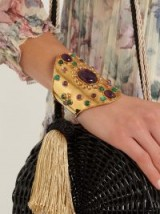 SYLVIA TOLEDANO Amethyst and malachite gold-plated cuff ~ purple and green stone cuffs ~ luxe style statement jewellery