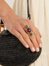 SYLVIA TOLEDANO Amethyst and malichite gold-plated ring ~ green and purple statement rings
