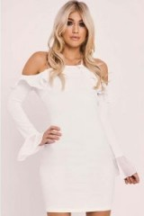 IN THE STYLE ANALEIGH CREAM LONG SLEEVE COLD SHOULDER FRILL MINI DRESS – ruffled going out dresses