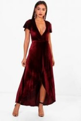 boohoo Angel Sleeve Dip Skirt Maxi Dress | berry-red plunge front dresses