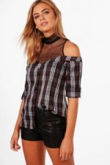 boohoo Anna Mesh Insert Off The Shoulder Shirt #cold #open #shirts #checked #casual #style