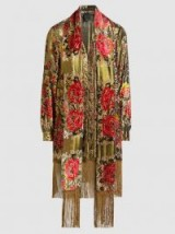 ANNA SUI‎ Garland Metallic Panel Scarf-Detail Jacket ~ luxe gold floral jackets