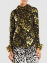 ANNA SUI‎ Gilded Lace Ruffled Long-Sleeve Blouse ~ metallic-gold floral blouses