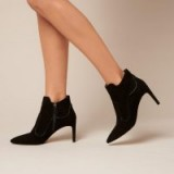 L.K. Bennett ANNESHA BLACK SUEDE ANKLE BOOTS / pointed toe bootie