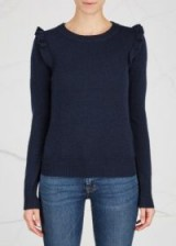 MADELEINE THOMPSON April ruffle-trimmed wool blend jumper ~ navy jumpers with ruffled shoulders