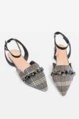 Topshop ARIANA Pointed Shoes / grey check print pointy flats