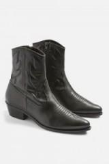 TOPSHOP Arizona Western Boots / black leather cowboy boots